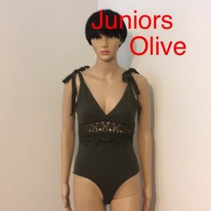 Tops - Juniors Embroidery Olive Bodysuit